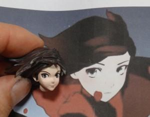 リペイント前の顔とアニメのプリントを並べたところ